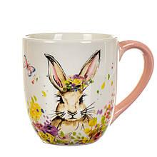 Чашка Цветочный кролик с розовой ручкой (550 мл.)