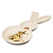 Тарілка великодня у формі кролика з принтом