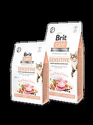 Сухой корм Brit Care Cat GF Sensitive HDigestion & Delicate Taste для привередливых кошек Порез 4 см