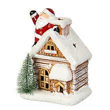 """Фігурка """"Дід Мороз на даху будинку"""""""