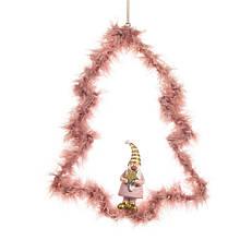 """Подвеска """"Пушистая елка"""" розовая"""