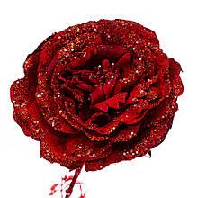 Новорічна троянда червона 74 см