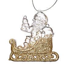 """Ёлочная игрушка """"Золотой Дед Мороз на санях"""""""