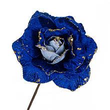 """Квітка """"Зимова троянда"""" синя з блискітками"""