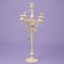 Підсвічник на 5 свічок з кристалами, кремовий (66см.)