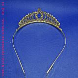 Детская корона, диадема для девочки под серебро с прозрачными камнями, высота 4,5 см., фото 6