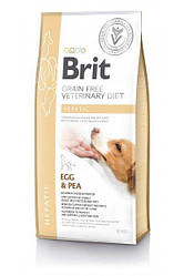 Brit GF VetDiets Dog Hepatic 12 kg при хворобі печінки з яйцем, горохом, бататом і гречкою