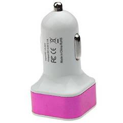 Автомобільний 2-USB адаптер 97095 2.1 А/1.0 А квадрат (Рожевий)