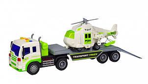 """Модель трейлер с вертолётом 7919 """"АВТОПРОМ"""" 1:16 свет, звук (Белый)"""