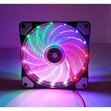 Вентилятор 120*120*25мм 3pin+molex Cooling Baby 12025HBML BB 15LED 5кол. підсвічування чорний з прозорим новий
