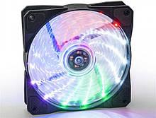 Вентилятор 120*120*25мм 3pin+molex Frime Iris FLF-HB120MLT15 15 LED 5кол. підсвічування чорний з прозорим новий