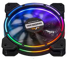 Вентилятор 120*120*25мм 3pin+molex Frime Iris FLF-HB120TRMLT16 6кол. подсв. черн. з прозр. новий