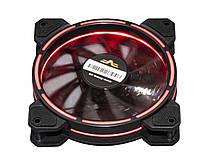 Вентилятор 120*120*25мм 3pin+molex Frime Iris FLF-HB120TRR16 черв. подсв. черн. з прозр. новий