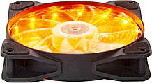 Вентилятор 120*120*25мм 3pin+molex Frime Iris FLF-HB120Y15 15 LED жовтий. підсвічування чорний з прозорим новий