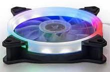 Вентилятор 120*120*25мм 3pin+molex Frime Iris FLА-HB120MLTSR 5-кольорова подсв. білий з чорним. новий