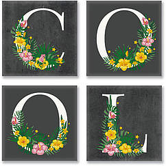Набор для росписи по номерам Идейка COOL лофт 18х18 см 4 шт. CH115