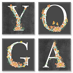 Набор для росписи по номерам Идейка YOGA лофт 18х18 см 4 шт. CH118