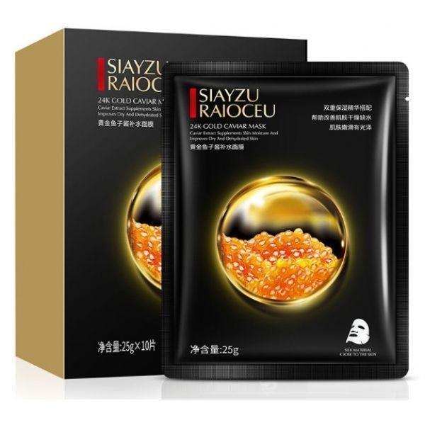 Тканевая маска для лица SIAYZU RAIOCEU 24K CОLD CAVIAR MASK с золотом и черной икрой 25 гр