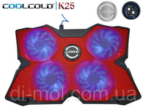 Охлаждающая подставка для ноутбука CoolCold K25, красный