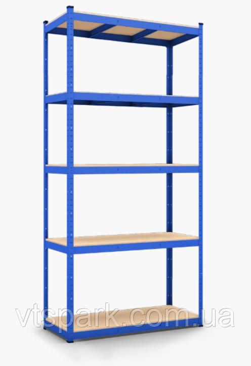 Стеллаж полочный 2000х1000х400мм, 200кг, 5 полок с ДСП крашеный для склада, дома, гаража