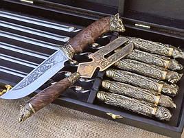 """Набір шампурів ручної роботи """"Дикі звірі з ножем і виделкою"""" в кейсі"""