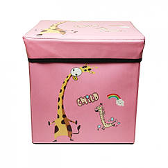 "Корзина-сундук для игрушек ""Жираф"" Metr+ BT-TB-0019 31х31х31 см (Розовый)"
