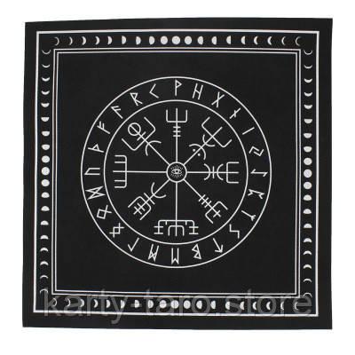 Скатертина чорна Таро 50x50 СМ. Нетканий матеріал для ворожіння на рунах з магічним малюнком