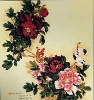 Принт для вышивки лентами -  Цветы в японском стиле
