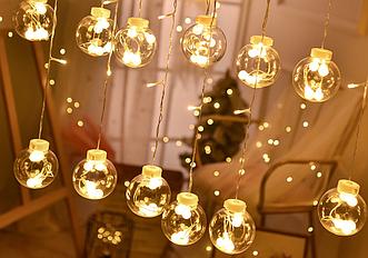 Гирлянда светодиодная занавес штора Волшебные шары, теплый белый, 2.5м, 12 шаров.