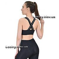 Спортивный топ для фитнеса, топ женский черный для занятий спортом Valeri 4031