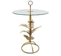 Декоративный круглый журнальный элитный столик стекло золотой из металла