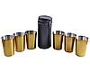 Рюмки из нержавеющей стали в кожаном чехле (Золото, 6 шт) №PQ-04 Б