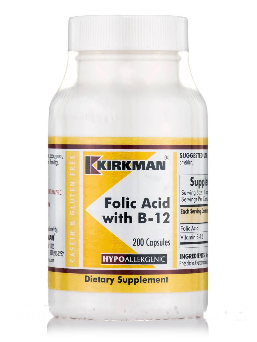 Фолієва кислота з B-12-гіпоалергенні, Folic Acid with B-12 -Hypoallergenic, Kirkman labs, 200 капсул