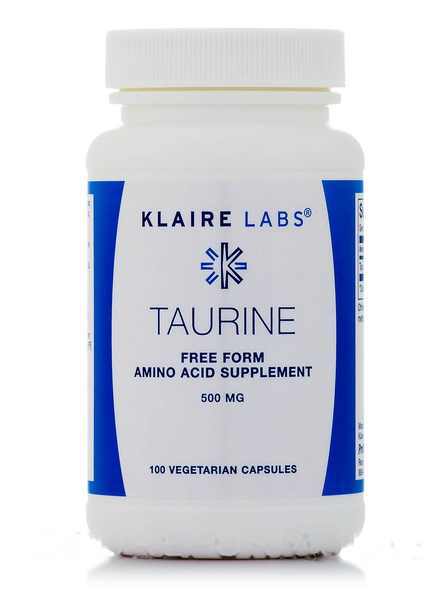 Таурин 500 мг, Taurine, Klaire Labs, 100 капсул вегетаріанських