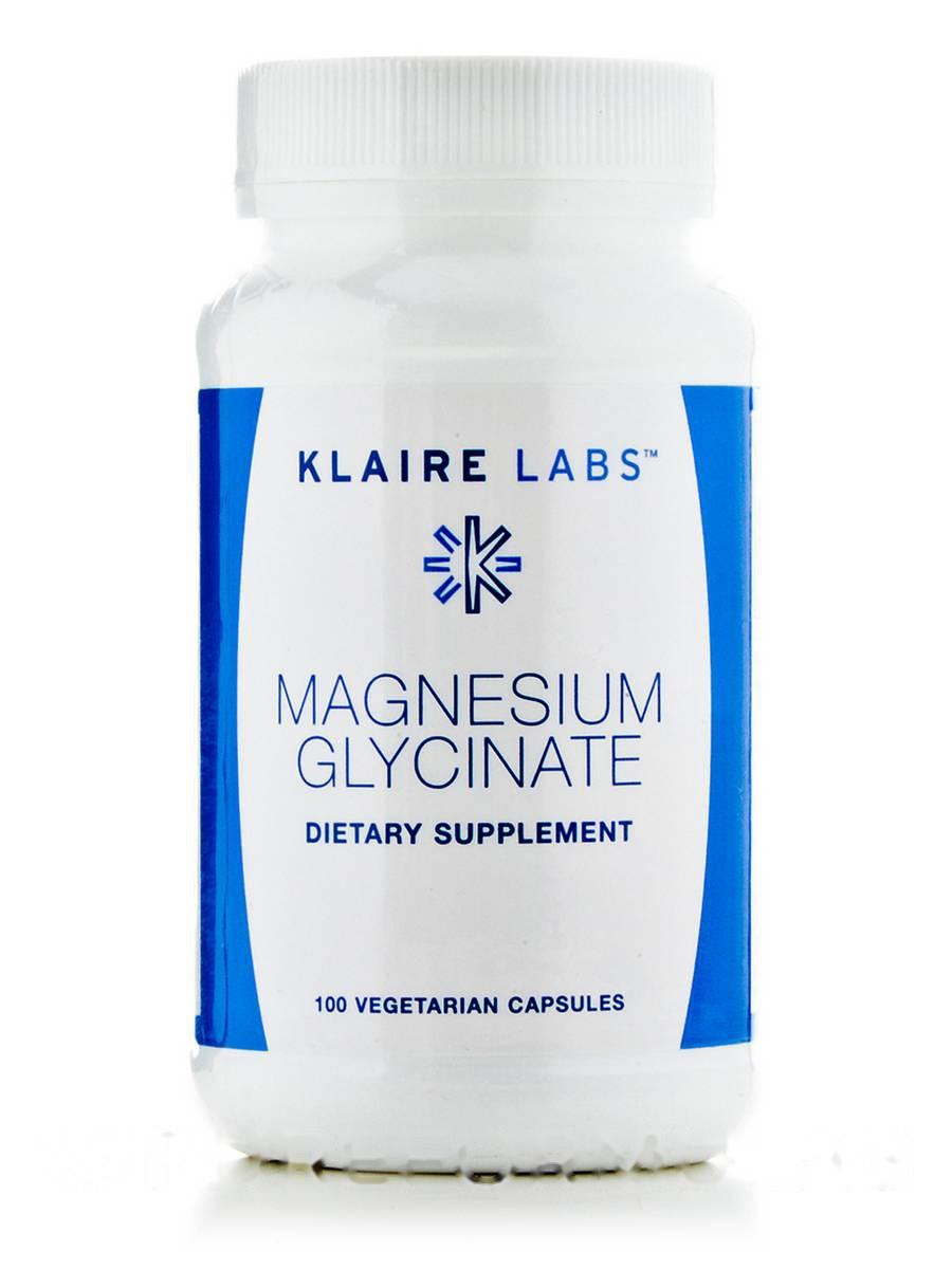 Магній глицинат, Magnesium Glycinate, Klaire Labs, 100 капсул вегетаріанських
