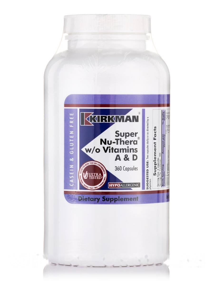 Супер Ню-Тера без вітаміну A & D Гіпоалергенний, Super Nu-Thera w/o Vitamins A & D -Hypoallergenic, Kirkman