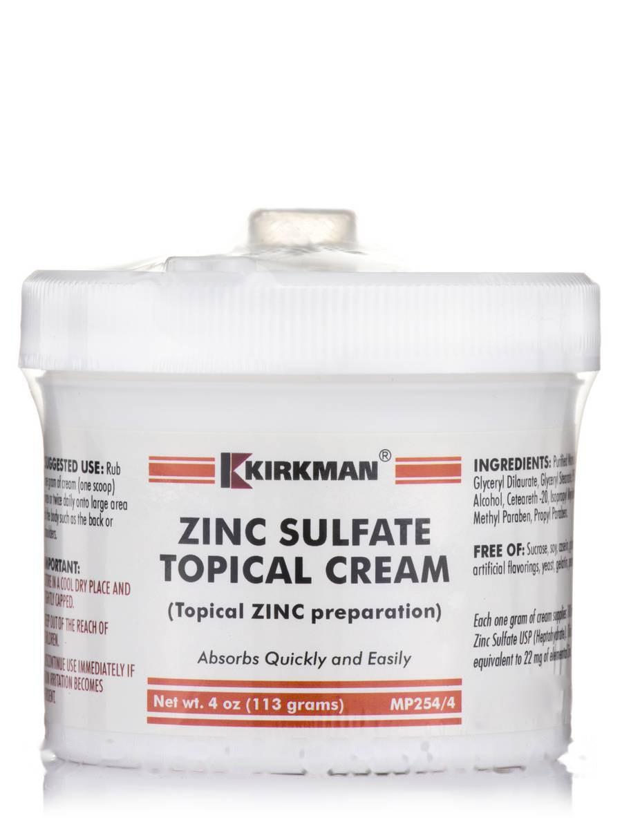 Сульфат цинку для місцевого застосування, Zinc Sulfate Topical Cream, Kirkman labs, 4 унції (113 грам)