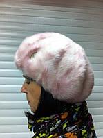 Женский берет из искусственного меха цвет розовый