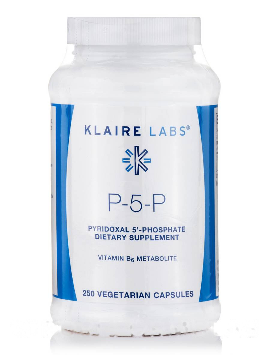 P-5-P (пиридоксальный 5'-фосфат), P-5-P (Pyridoxal 5'-Phosphate), Klaire Labs,  250 Вегетарианских Капсул