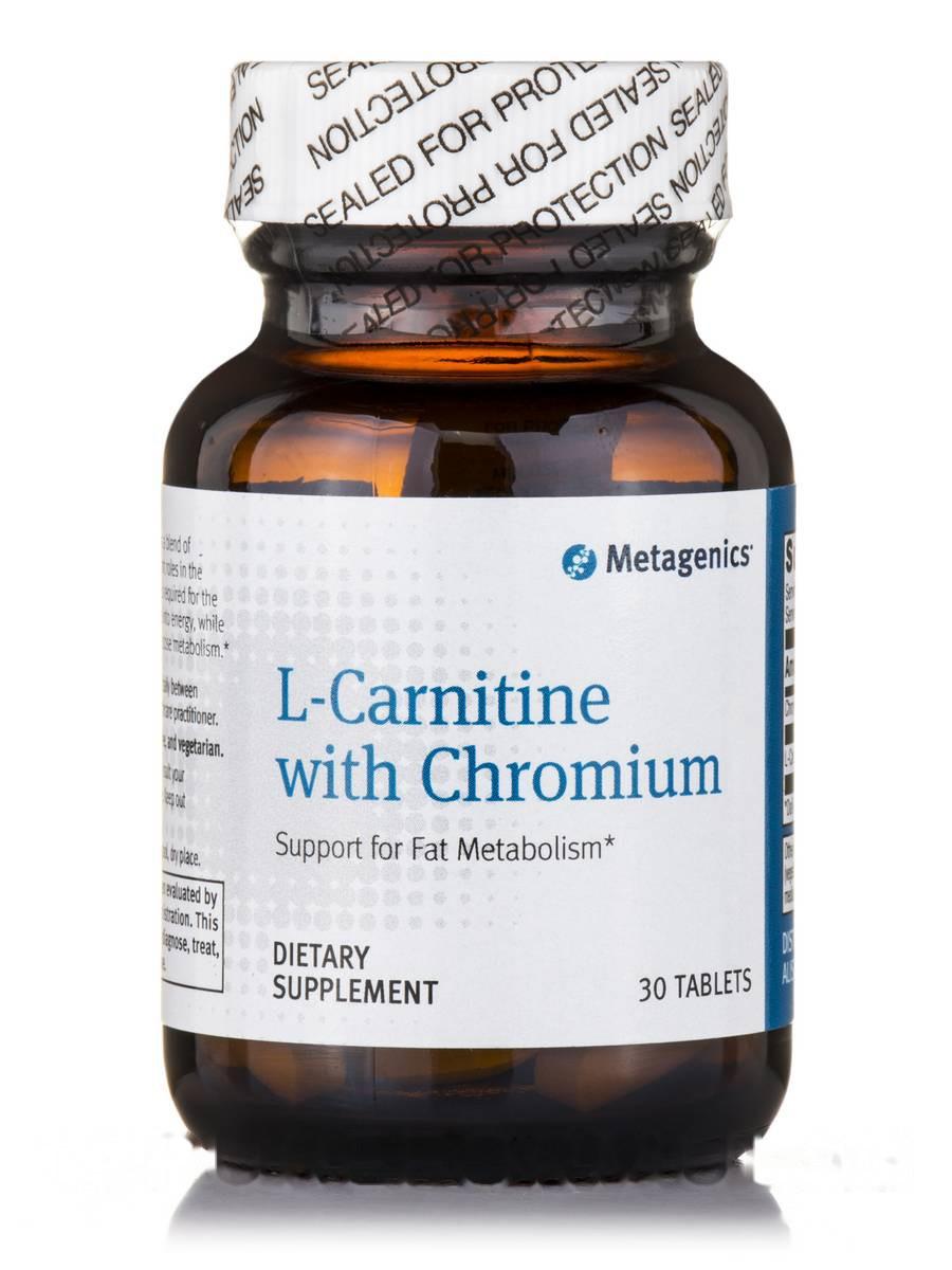 L-карнитин с хромом, L-Carnitine with Chromium, Metagenics, 30 таблеток