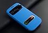 Голубой чехол-книжка с окошками к Samsung Galaxy S3 и S3 duos