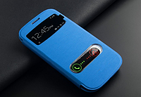 Голубой чехол-книжка с окошками к Samsung Galaxy S3 и S3 duos, фото 1