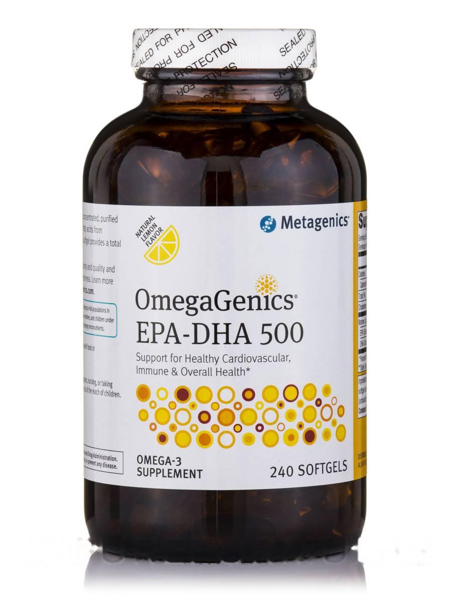 ОмегаГеникс EPA-DHA 500 Натуральный лимонный вкус, Wellness Essentials, Metagenics, 240 Мягких гелей