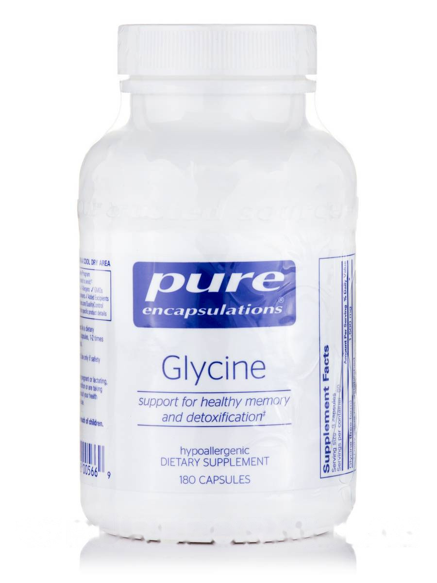 Глицин, Glycine, Pure Encapsulations, 180 капсул