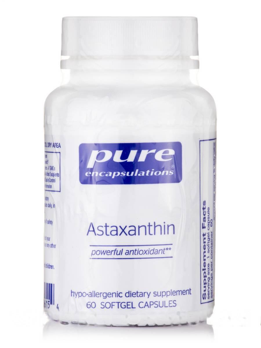 Астаксантин, Astaxanthin, Pure Encapsulations, 60 капсул