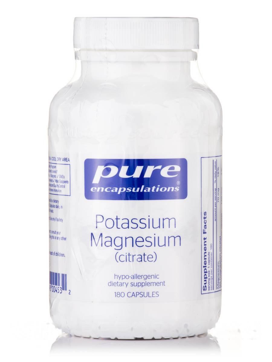 Калий Магний (цитрат), Potassium Magnesium (citrate), Pure Encapsulations, 180 капсул