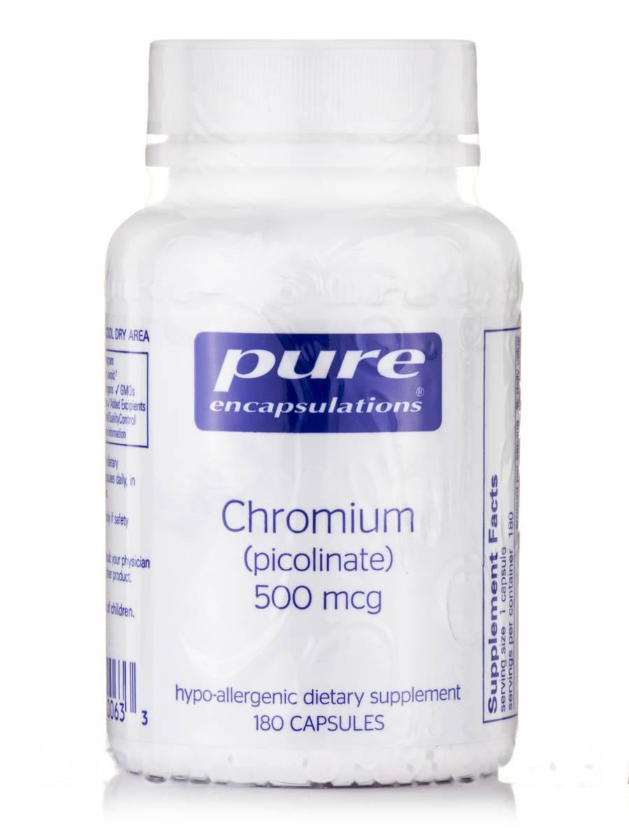 Хром (пиколинат) 500 мкг, Chromium picolinate), Pure Encapsulations, 180 капсул