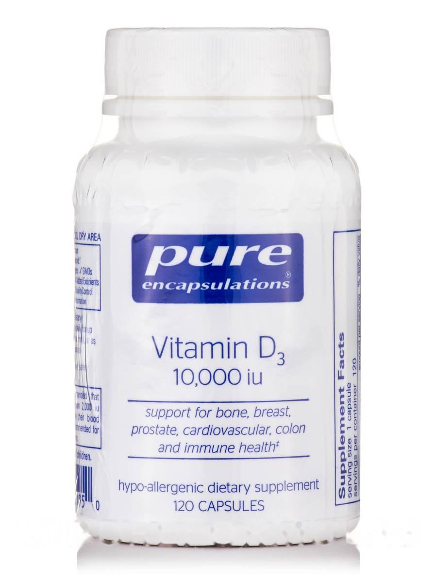 Вітамін D3 10, 000 IU, Vitamin D3 10 000, Pure Encapsulations, 120 Капсул