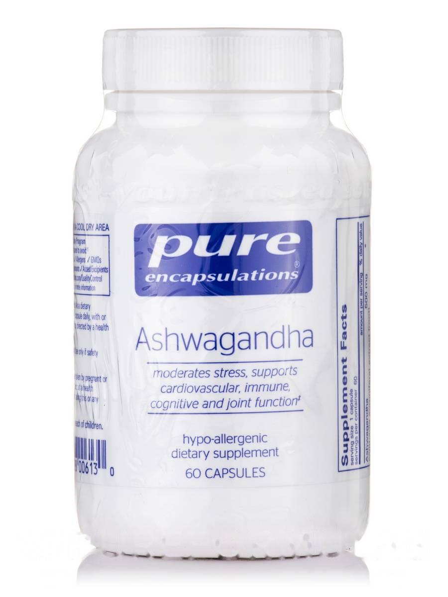 Ашваганда, Ashwagandha, Pure Encapsulations, 60 капсул
