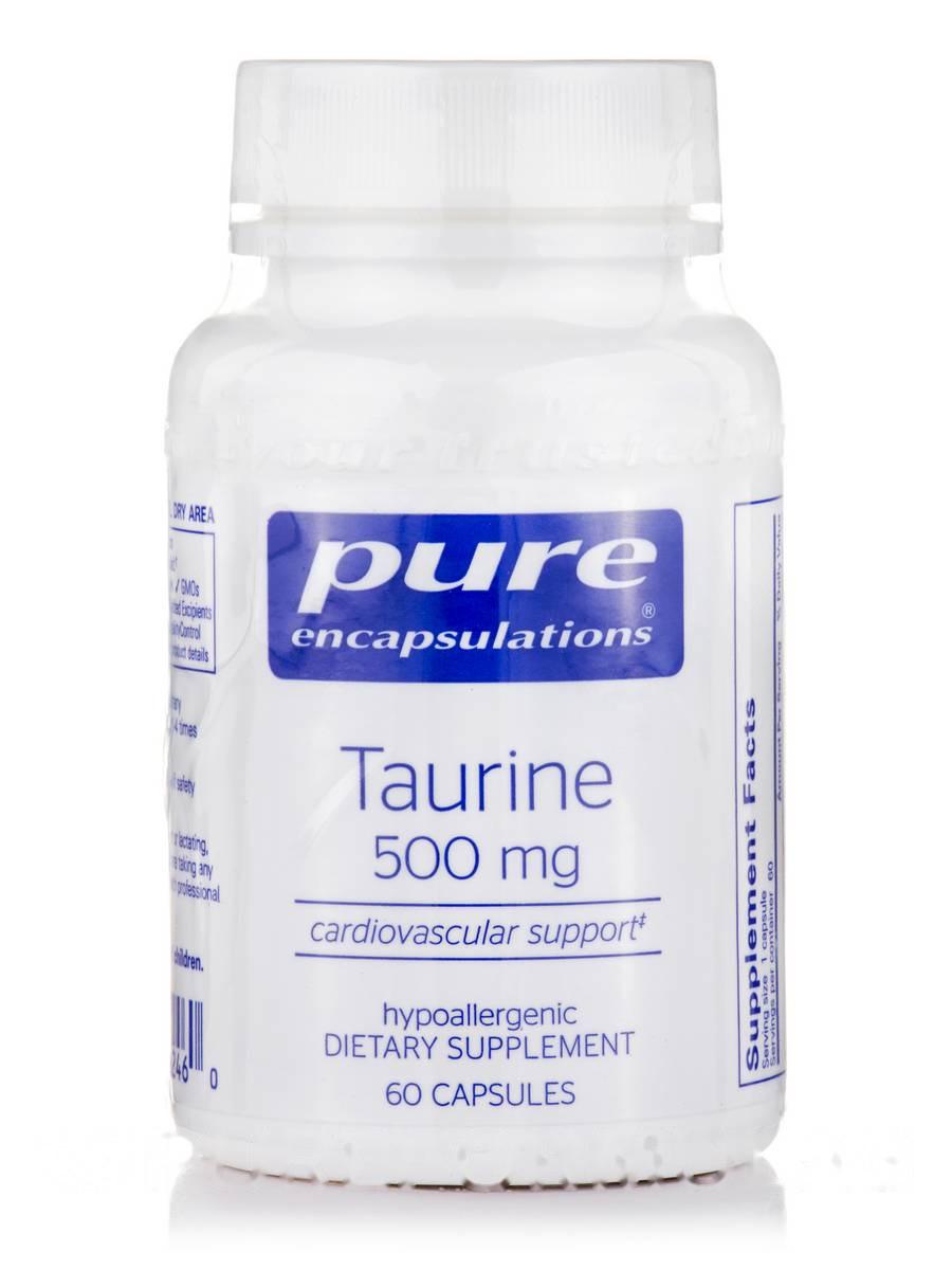 Таурин 500 мг, Taurine, Pure Encapsulations, 60 капсул
